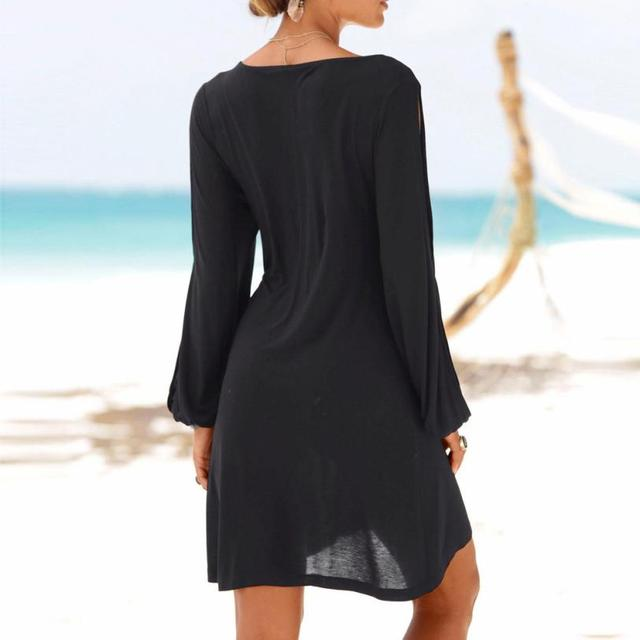 KANCOOLD dress Fashion Women Casual O-Neck Hollow Out Sleeve Straight Dress Solid Beach Style Mini dress women 2018jul20 3