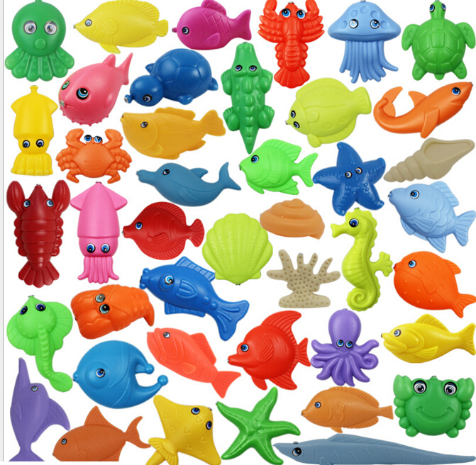 Wholesale 50 pcs/lot Plastic 3D Stereo Fish Magnetic Fishing Toy Baby Boy Girl Bath Toys