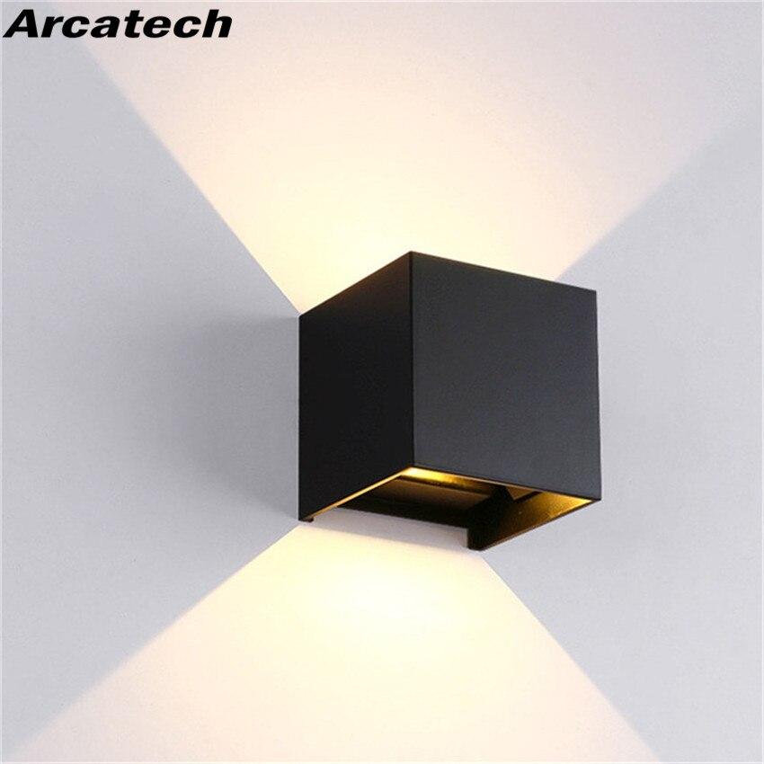 Lámpara de pared LED IP65, impermeable, interior y exterior, luz de pared de aluminio, cubo montado en superficie, luz LED de porche para jardín, NR-155