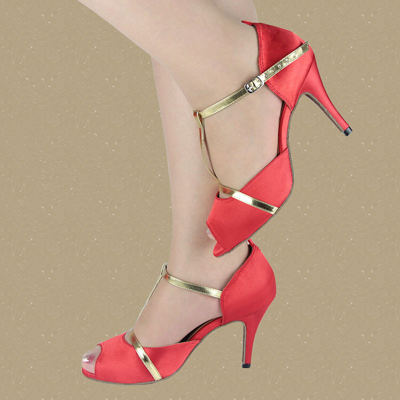 Red satin salsa shoes for ladies,quality womens shoes dance shoes latin women tango shoes Free shipping XC-6355