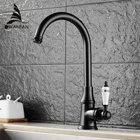Oil Rubbed Black Bronze Deck Mounted Kitchen Faucets Torneira Handle Swivel Sink Lavatory Faucets Mixers Taps