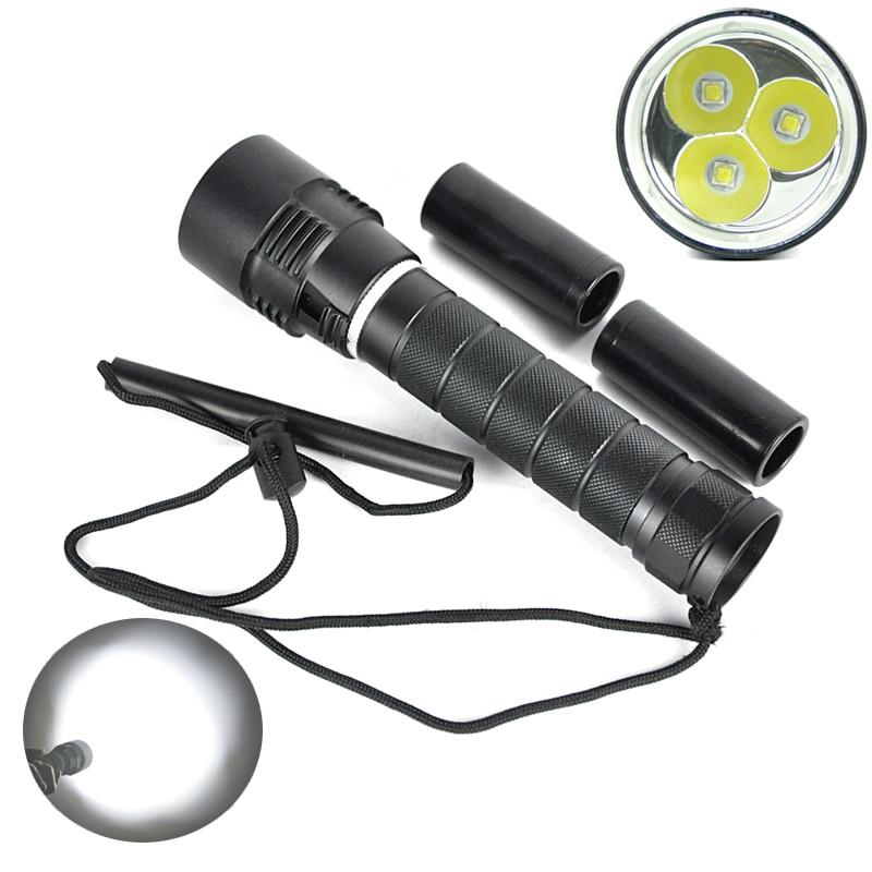 ФОТО 6000Lumen For Diver Lamp 100M Underwater 3x XM-L L2 LED Scuba Diving Flashlight Torch Lanterna Waterproof LED Flash Light