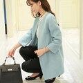 Promoción abrigo de cachemira de las mujeres 2016 Nueva mujer abrigo de lana chaqueta de invierno ropa de abrigo sólido de Lana femenina abrigo largo outwear