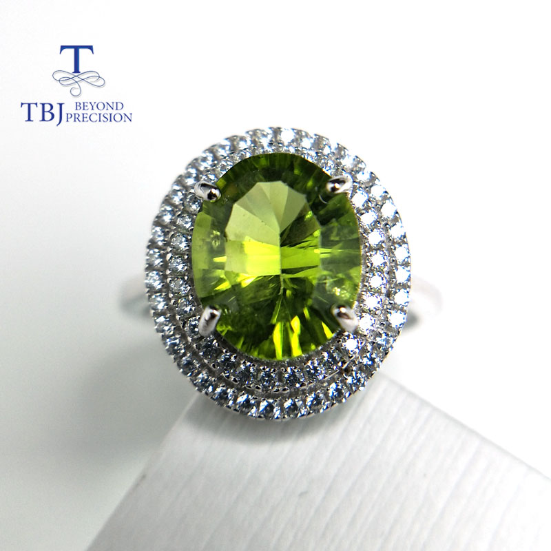 Tbj 100 Natural Peridot ov8 10 concave cut 3ct peridot gemstone ring in 925 sterling silver