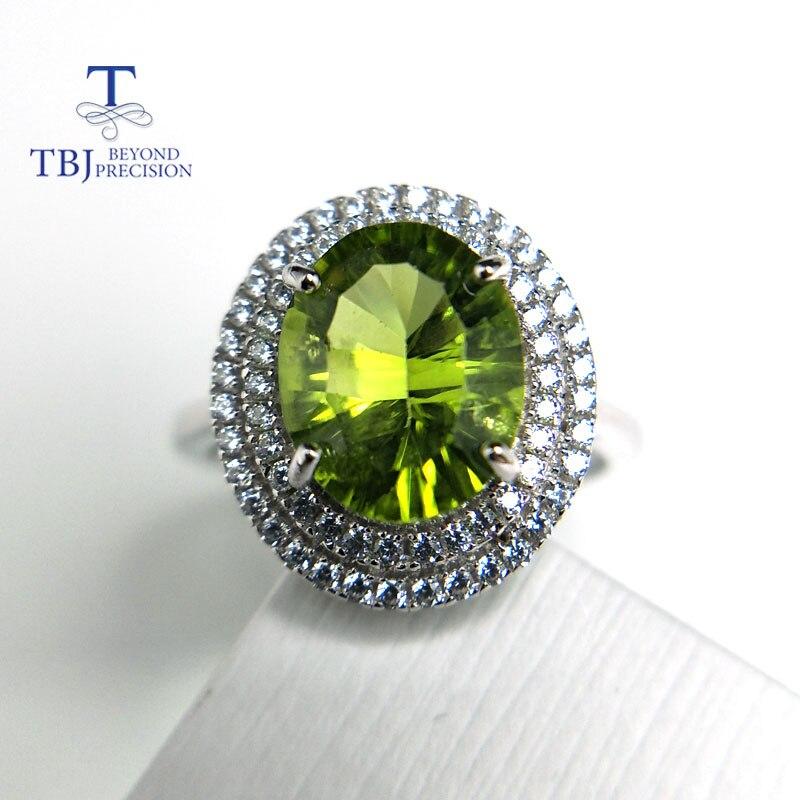Tbj, 100% naturel péridot ov8 * 10 concave coupe, 3ct péridot bague en argent sterling 925 colorstone bijoux avec boîte-cadeau