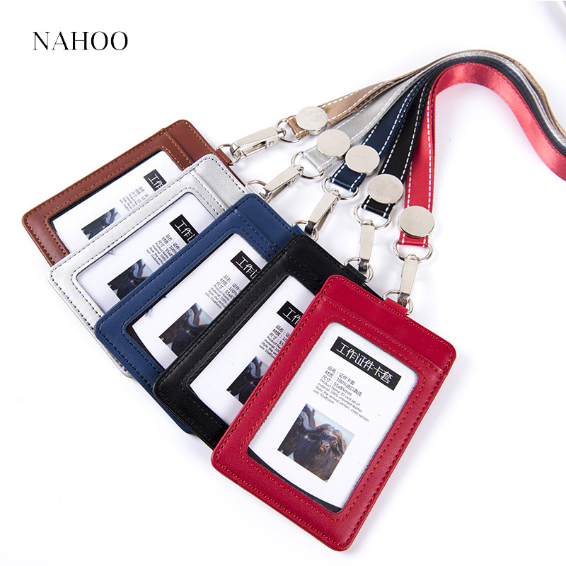 Nahoo ID Holders Bank Credit Card Holders Unisex Genuine Leather Neck Strap Working Badge Holder with Lanyard Office Supplies