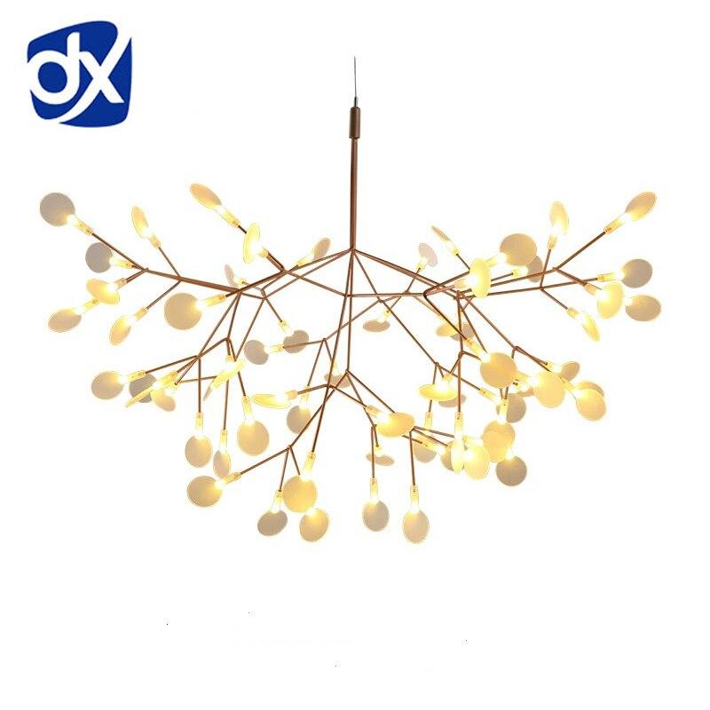 Arte Creativo diseñador LED lámpara de lujo árbol hoja moderna colgante lámparas Deco lámparas para comedor dormitorio