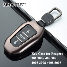 hot deal buy 1pc seeyule aluminum alloy car key case shell key cover storage bag protector for peugeot 301 308s 408 508 2008 3008 4008 5008