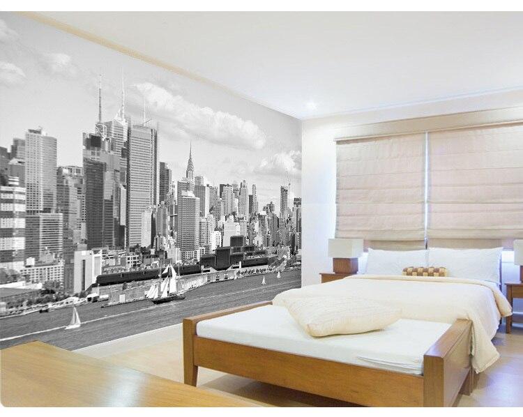 New york city black and white wallpaper modern living room for New living room wallpaper