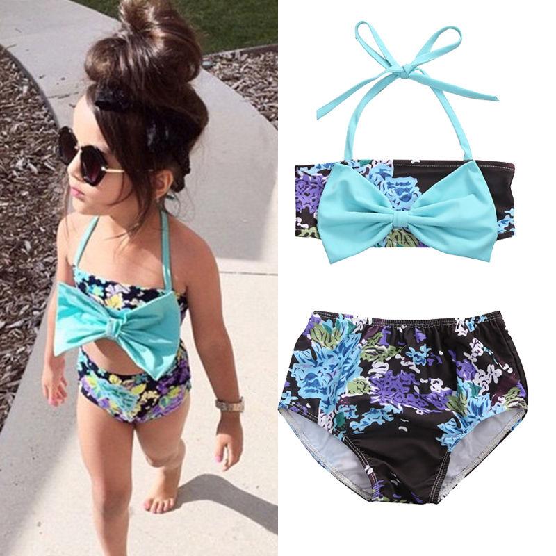 2018 Newborn Kids Baby Girls Bowknot Floral Halter Tankini Bikini Swimwear Swimsuit Bathing Suit Beachwear