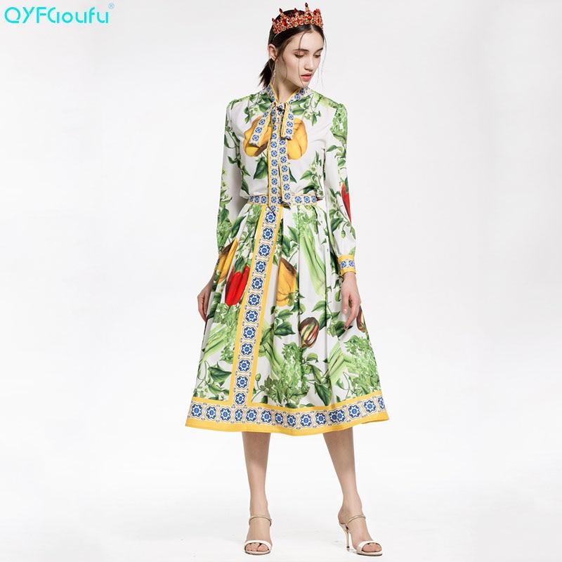 Jupe Piste Haute Femmes Pièce Imprimé Qyfcioufu Qualité Arc 2 Et Longues Casual Costumes 2018 Manches Tops Vert Blouses Mode Plissée tOqwOrZU