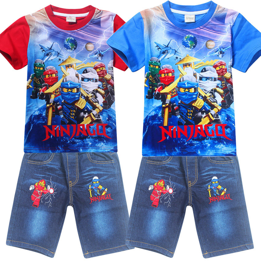 4-9Years Old Ninjago Children Kids Clothing Sets Summer Cotton Boys Tops Tees And Jeans Pants Clothing Suits