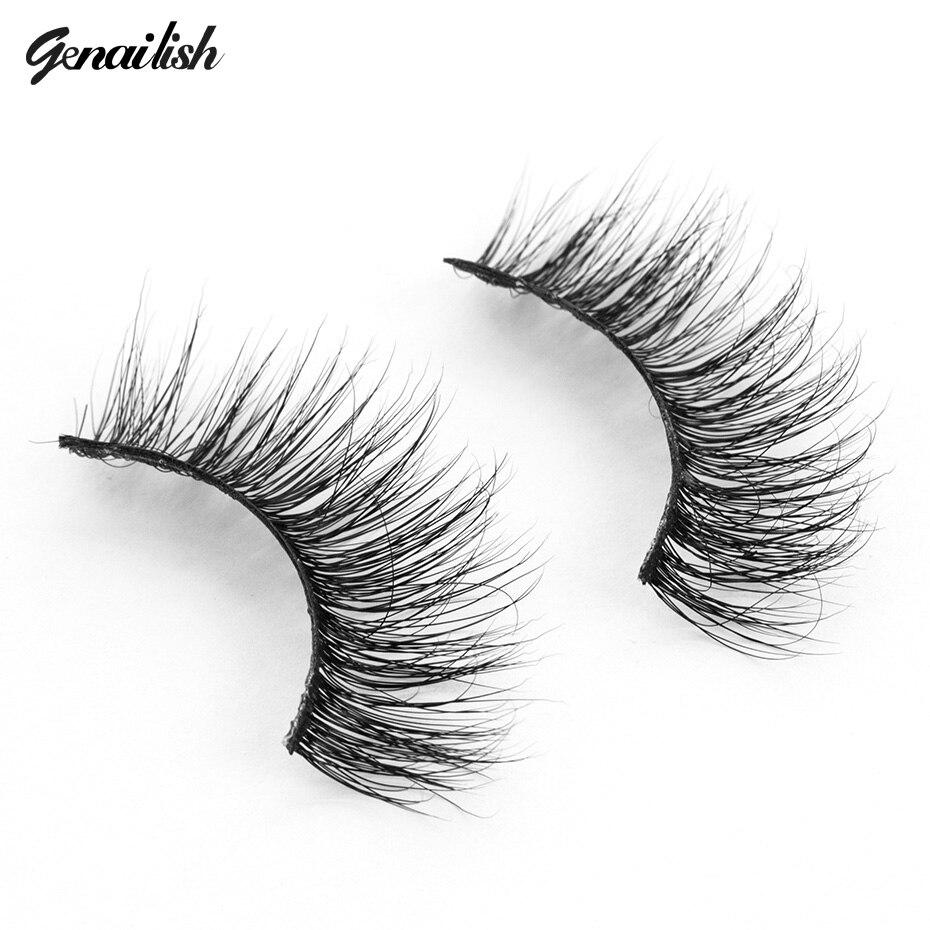 genailish False Eyelashes 3D Mink Eyelashes Natural Long Strip Eyelashes Extension 100% Handmade Lash Beauty Make up-A11