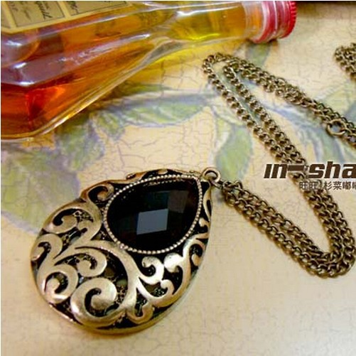 Новинка 2015! Модные Fine Jewelry Ретро пирсинг падение форма черный кристалл свитер цепи длинные ожерелья и подвески для женщин N-72