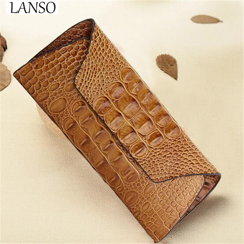 New Fashion Ladies Genuine Leather Bags Long font b Wallet b font Crocodile Pattern Retro Simple