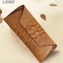 New Fashion Ladies Genuine Leather Bags Long Wallet Crocodile Pattern Retro Simple Envelope Cowhide Bag Women Mobile Phone Bag