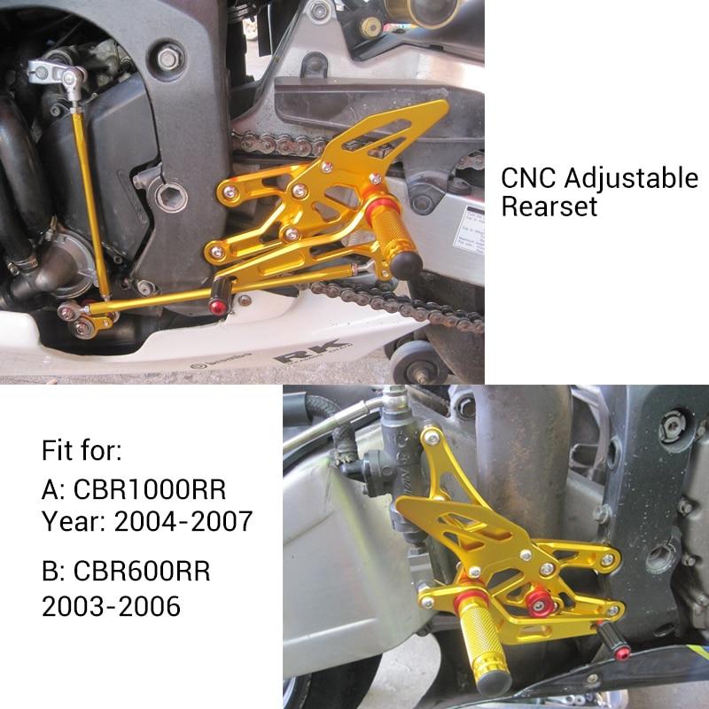 KEMiMOTO For Honda CBR 600RR 1000RR CBR600RR 2003 2004 2005 2006 CBR1000RR 2004-2007 Adjustable Rearset Foot Rests Pegs