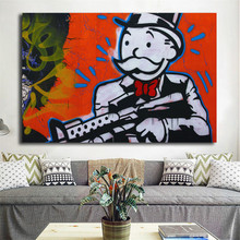 Gun In Hand Graffiti By Alec Monopolyingly Canvas Painting Print Bedroom Home Decoration Modern Wall Art Poster Picture