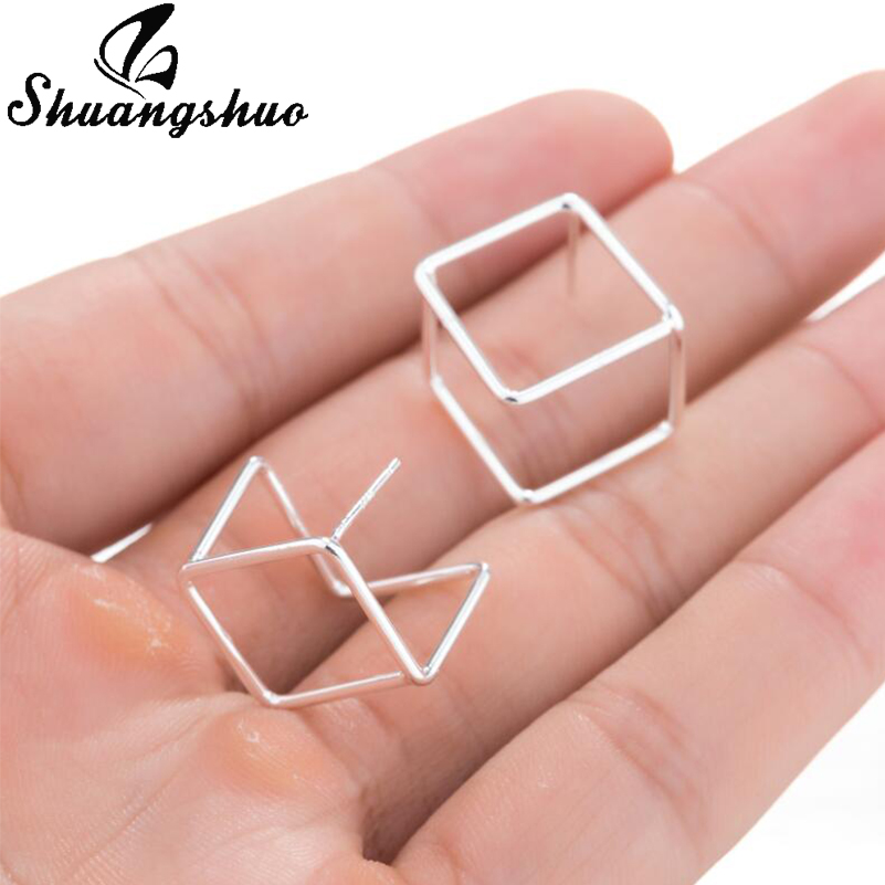 Shuangshuo Minimalist Korean Style 3D Cube Stud Earrings For Women Chic Girls Earrings Bijoux Studs Fashion Woman Earrings 2018