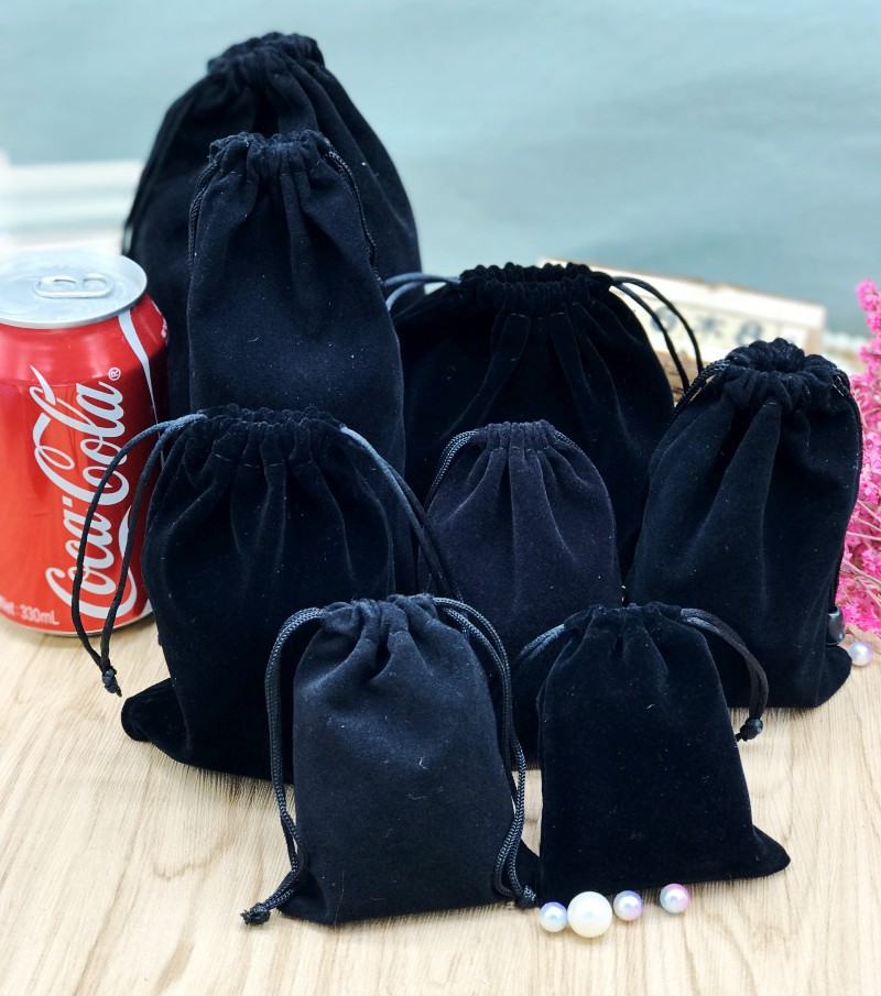 Gift-Bags Jewelry Drawstring Velvet Black 10x16 Wedding 9x12 15x20cm 20pcs 7x9 13x18 title=