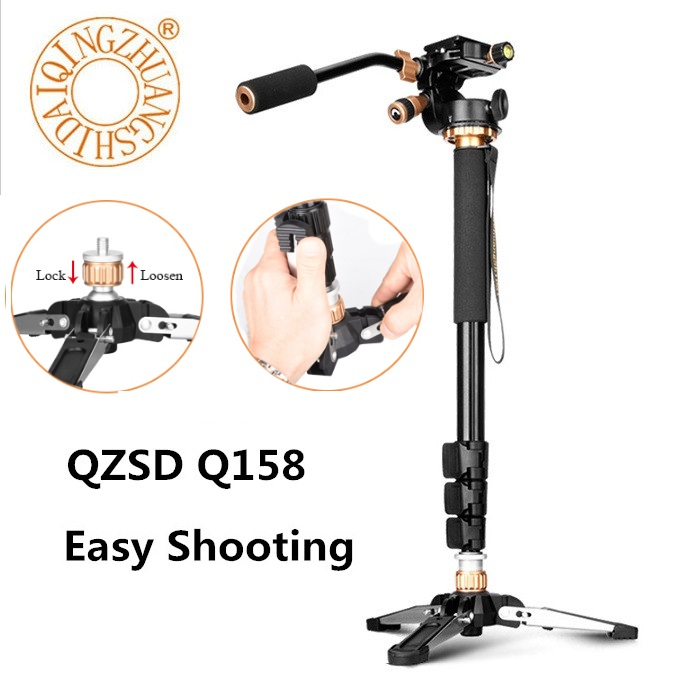 QZSD Q158B 4 Section Aluminum Video Camera Tripod Monopod With Quick Release Plate For SLR DSLR Video Camera Phone Pk Zomei Q111 qzsd q555 55 5 inches aluminium alloy camera video tripod monopod with quick release plate portable lightweight holder
