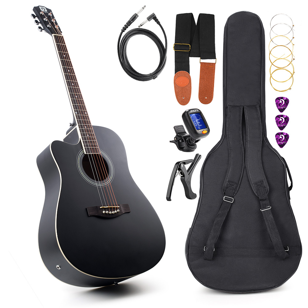 Acoustic Electric Cutaway Guitar Left-handed Guitar 41 Inch Full-Size with Guitar Gig Bag, Strap, Tuner, String, Picks, Capo guitar rolling capo greg bennett design glider capo slides up
