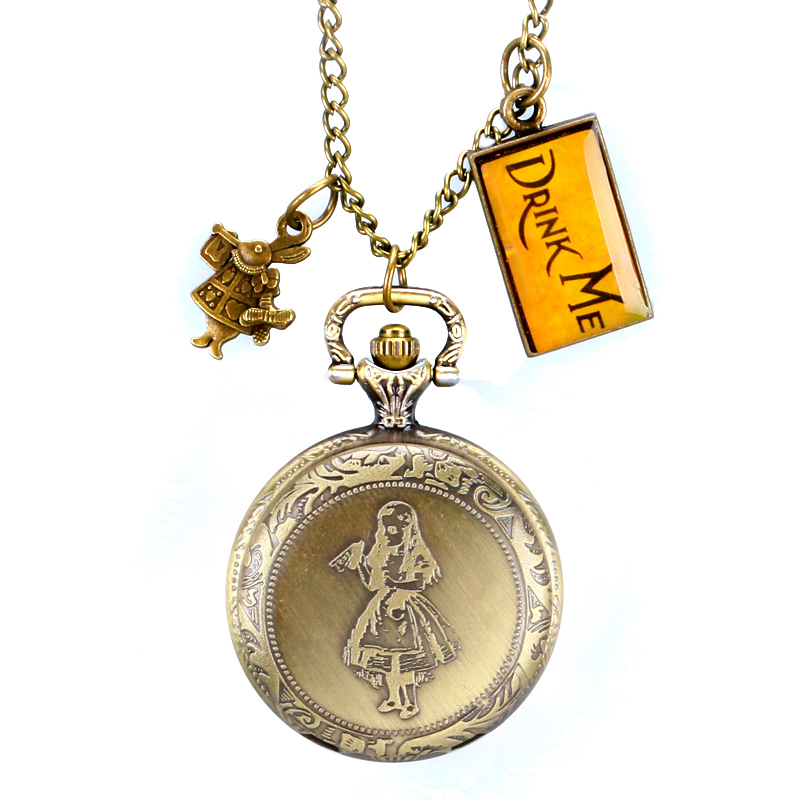Alice in Wonderland Rabbit and Drink Me Tag Pocket Watch Bronze Long Chain Pendant Necklace Chain Steampunk Gift Kid Men Women christmas gift fashion quartz pocket watch hot movie alice in wonderland rabbit bronze retro necklace pendant for women navidad
