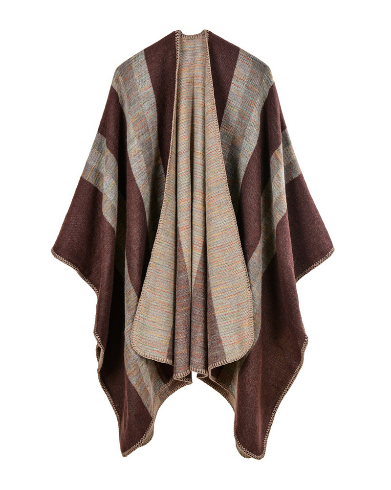 Vintage Ponchos And Capes Women Faux Cashmere Knitted Poncho Shawl ...