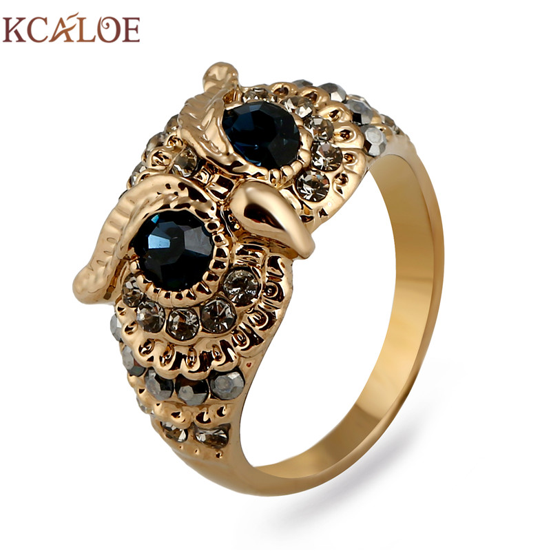 KCALOE Owl Rings For Women Blue Cubic Zirconia Vintage Rhinestone Titanium Gold Color Animal Ring Punk Rock Jewelry Bague punk style pure color hollow out ring for women
