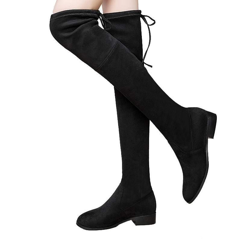 WETKISS Square Low Heel Woman Stretch Fabric Over The Knee Boots Women Shoes 2018 New Winter Ladies Motorcycle Boots Size 34-43 wetkiss new holed denim over the knee women boots round toe high heel footwear ripped sewing square heel ladies stretch boots