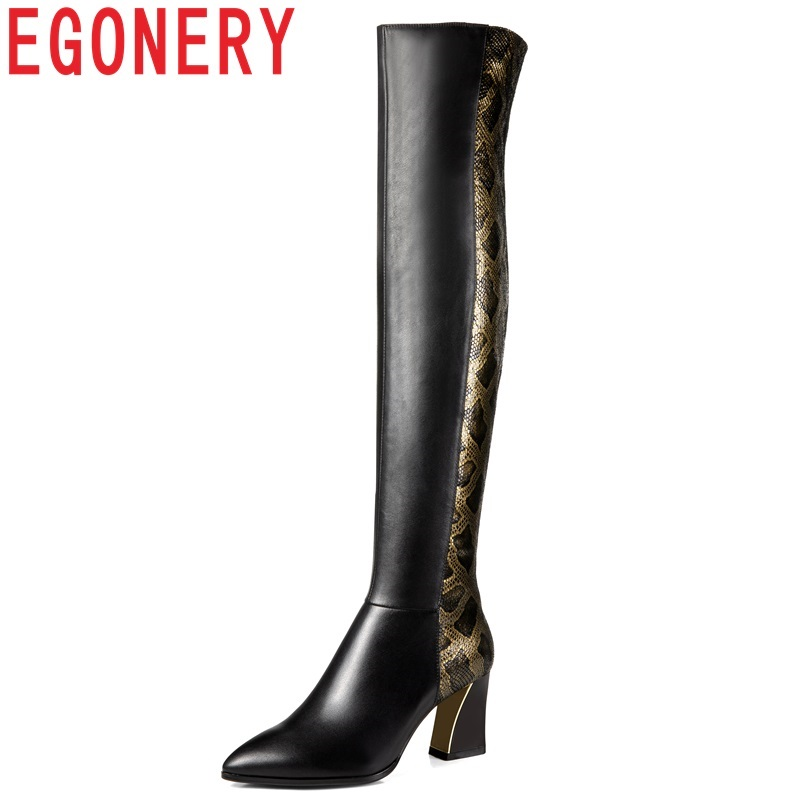 EGONERY women shoes 2018 new high quality handmade genuine leather pointed toe high square heel zip winter warm over knee boots