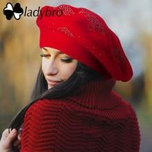 Ladybro Double Layer Rhinestones ขนสัตว์หมวกผู้หญิงหมวกฤดูใบไม้ร่วงฤดูหนาว WARM Beret หญิงถักหมวกหมวก Boina ผู้หญิง Beret หมวก