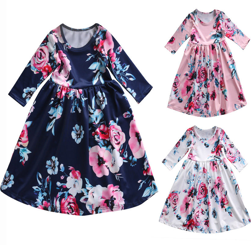 Flower Girl Toddler Princess Dress Kid Baby Party Pageant Children Clothing Floral Girls Long Sleeve Autumn Dress Clothes 2016 spring autumn children clothing new girls print flower long sleeved casual toddler girl turtleneck princess dress