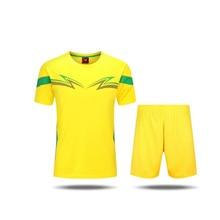 2016 Sports soccer jersey football team sets training running Adult men Group Short Sleeve Jersey Yellow polo shirt
