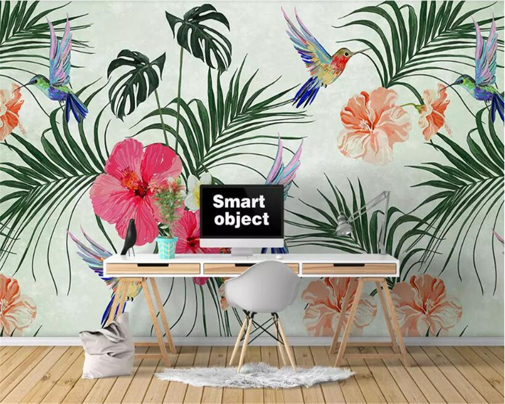 Beibehang Nordic Hand Painted Watercolor Tropical Leaves Flowers And Birds 3d Wallpaper Home Decoration Sofa Background Mural 3d