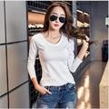 Negro Blanco Rosa Gris Básica Camiseta de Las Mujeres 2017 Otoño Mujer Casual Solid Manga Larga Camisetas de Algodón Coreano Más El Tamaño T camisa