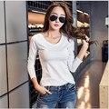 Preto Branco Rosa Cinza T-shirt Das Mulheres Básico 2017 Outono Das Mulheres Sólida casuais de Manga Comprida T-shirt de Algodão Coreano Plus Size T camisa