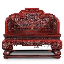 Padauk императорский трон домашний офис приемная комната Роскошный Стул, дракон резьба по цельному дереву красный сандаловое кресло Китай ретро