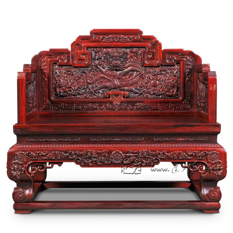 Padauk Imperial Throne Home Office Reception Room Luxurious Dragon Chair  Solid Wood Carving Red Sandalwood Armchair China Retro  In Living Room  Chairs From ...