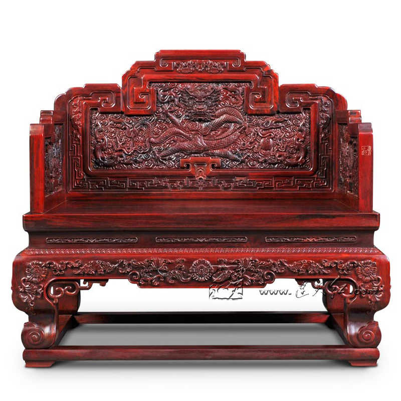 Padauk tron cesarski domu biura recepcji pokój luksusowy smok krzesło z litego drewna rzeźba czerwone drzewo sandałowe fotel chiny Retro