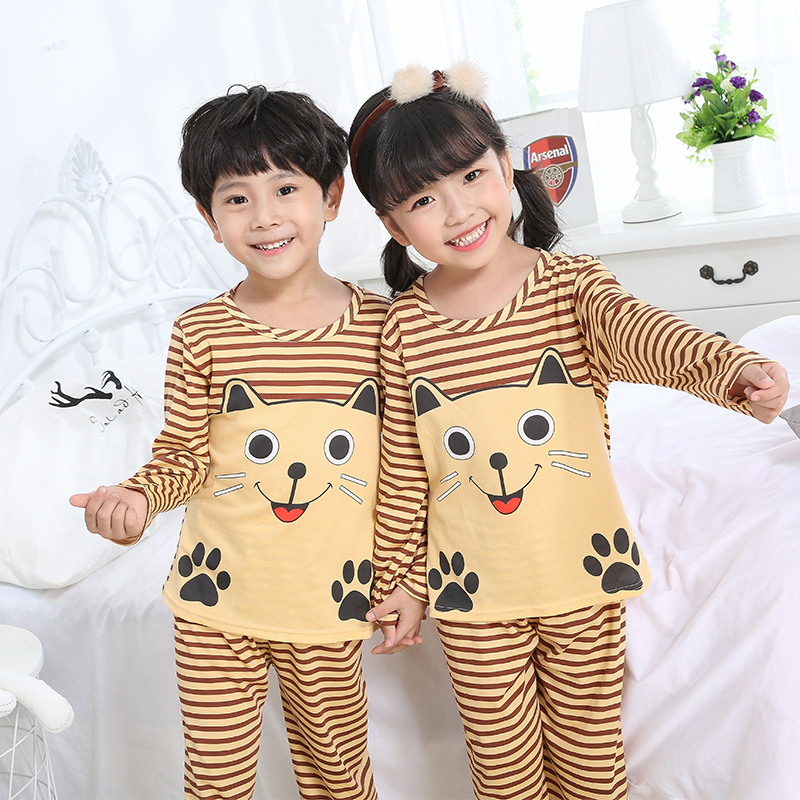Autumn Winter Children   Pajamas     Set   Long Sleeve Cartoon Kid Catamite Girl Clothes Lovely Children's Pyjamas Big Boy Home Clothes