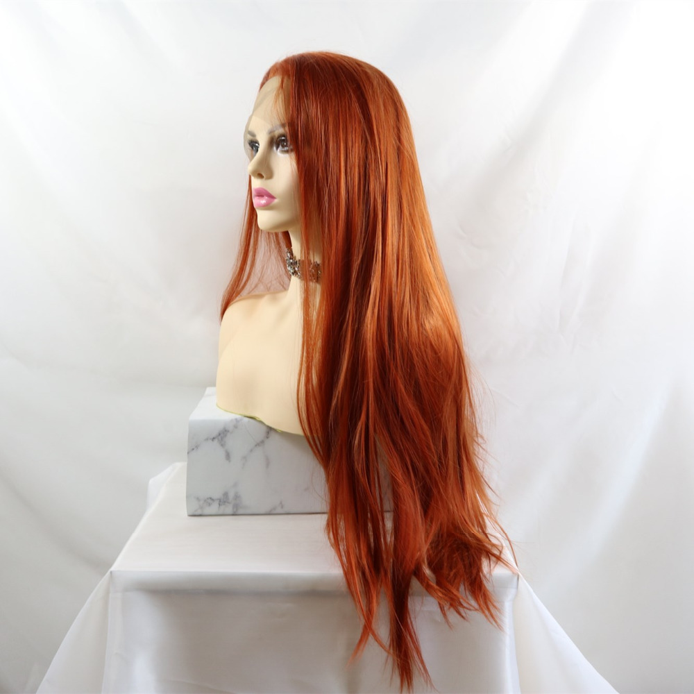Marquesha Long Straight Copper Red Color Natural High Temperature Fiber Synthetic Lace Front Wigs For Women Lace Front Wigs