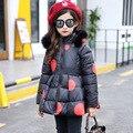 2016 Impressão Meninas Casacos de Inverno E Jaquetas Crianças Outwear Roupas Infantis Meninas Do Bebê Quente Roupas Acolchoadas Para Baixo Parka