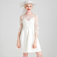 Women dress brief sweet lace flower ruffles elegant flare pleated white black color half transparency round neck dress for girls