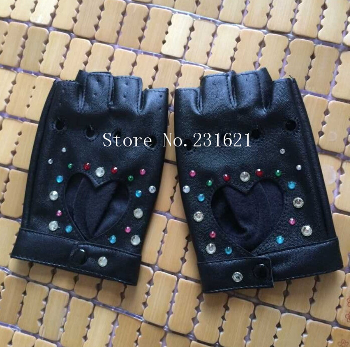 Women's Fashion Personalized Diy Rhinestone Diamond Hip-hop Gloves Star Hot-selling PU Leather Gloves Sexy Fingerless Glove