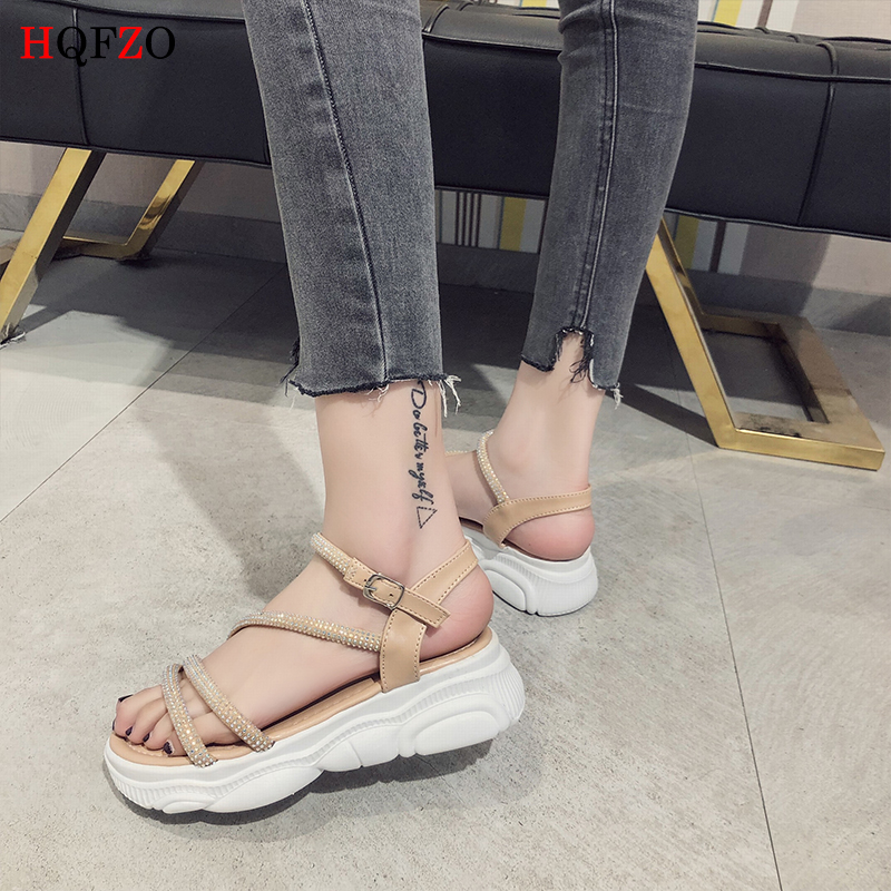 HQFZO Casual Bling Flock Woman Sandals Summer Comfortable Platform Buckle Strap Flats Sandalias 2019 New in Middle Heels from Shoes