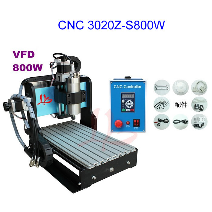 No Tax Free Ship To Russia ! CNC 3020Z-S800W Router, water cooled desktop milling machine for metal, with limit switch russia no tax best water jet cutting machine price stone 4aixs cnc router 6040 z s 800w water cooled with limit switch