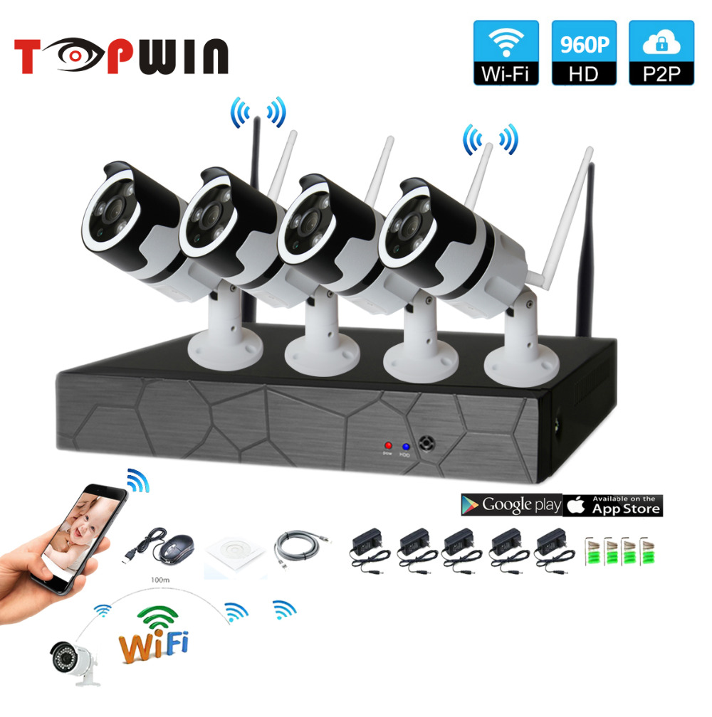 4CH two way audio talK HD Wireless NVR Kit P2P 960P Indoor Outdoor IR Night Vision Security 1.0MP IP Camera WIFI CCTV System