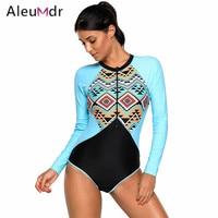 Aleumdr 2018 Bodysuit Swimwear Women Retro Print Rashguard Long Sleeve One Piece Swimsuit High Cut LC410480