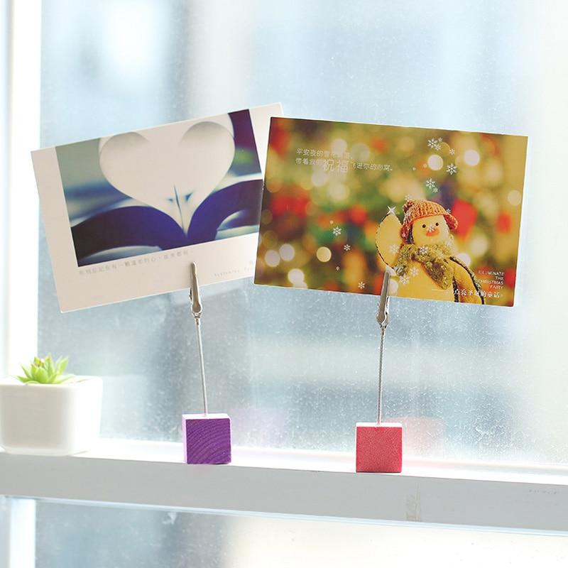Деревянный куб подставка для фотографий держатель зажим школьные офисные принадлежности Инструменты настольные аксессуары Органайзер уголок радости